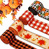NBHH 4 Rolls 24 Yards Autumn Pumpkin Wired Fabric Ribbon, Buffalo Plaid Edge Ribbon Fall Themed Decorative Ribbon for Halloween or Thanksgiving Party Wreaths Wrapping Floral DIY Crafting Supplies