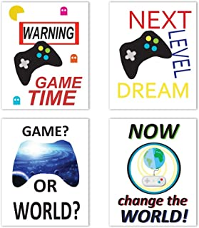 """HLNIUC Video Game Themed Poster Print Funny Gamepad Pattern Typography,Game Joystick Set of 4 (8""""X10"""") Canvas Gamer Wall Art Picture Boys Kids Gaming Room Decor"""