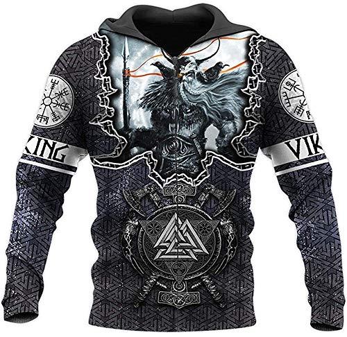 DFWY Odin Tattoo 3D Druck Hoodie, Viking Symbol Nordic Mythology Rune Sweatshirt, Harajuku Herbst langärmelige Mode straße Pullover, Weihnachten Paar Outfit (Color : Hoodie Zip, Size : XL)