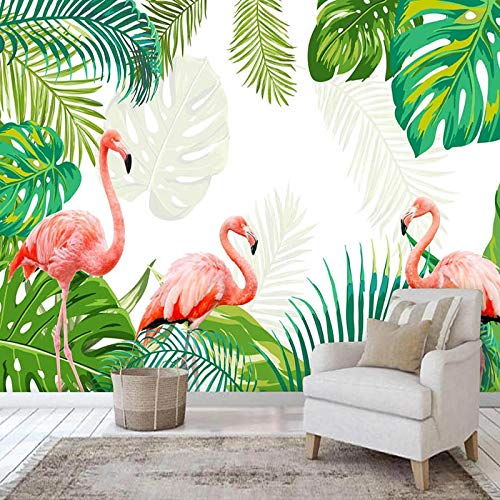 asfdgkwejd Mural de la foto del arte de la pared 3D 390x260CM Hojas verdes flamenco nórdico planta Cubos 3D Papel tapiz colorido Foto Mural de pared Sala de estar del hogar Decoración del hogar