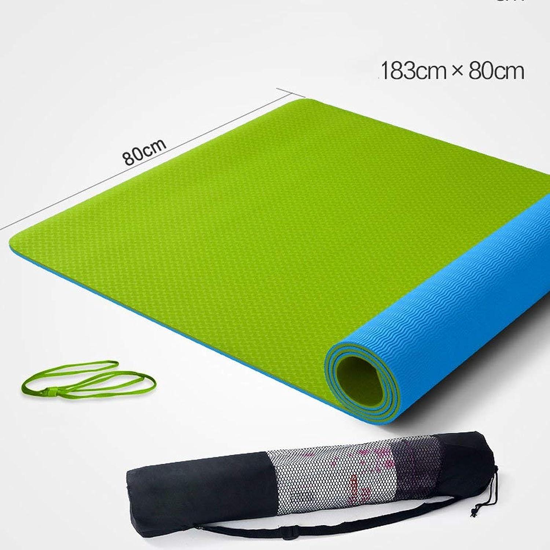 NANIH Home Grüne und geschmacklose Yogamatte Rutschfeste Yogamatte Verlngerte und verbreiterte verdickte Fitnessmatte Dicke 6mm Trainingsmatte (Farbe   C)