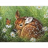 5D DIY mosaico bordado hierba ciervos punto de cruz imagen decoración del hogar regalo pintura diamante kit de punto de cruz gratis