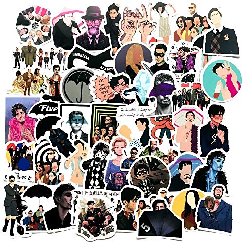 YZFCL Umbrella Academy American Drama Personalidad Pegatina PVC Doodle Pegatina Maleta Equipaje Guitarra Pegatina Impermeable 50 Uds