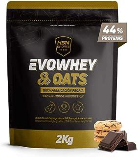 Evowhey Oats HSNsports Proteine Whey Farine d   Avoine Ideal pour les Petits Dejeuners Collations Faible Sucre  Convient aux Vegetariens  Sans Soja  Saveur Chocolat Biscuit  2Kg