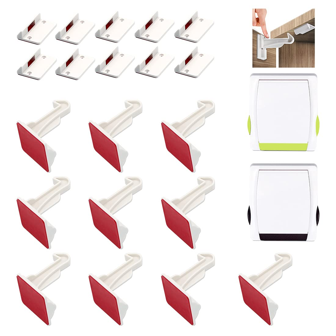 Upgraded Invisible Cabinet Locks Child Safety Latches, 10 Pack Child Proofing Cabinet & Drawers Locks for Babies - No Drilling and Tools Required, Strong Adhesive - Kitchen Bedroom Cabinets Drawers