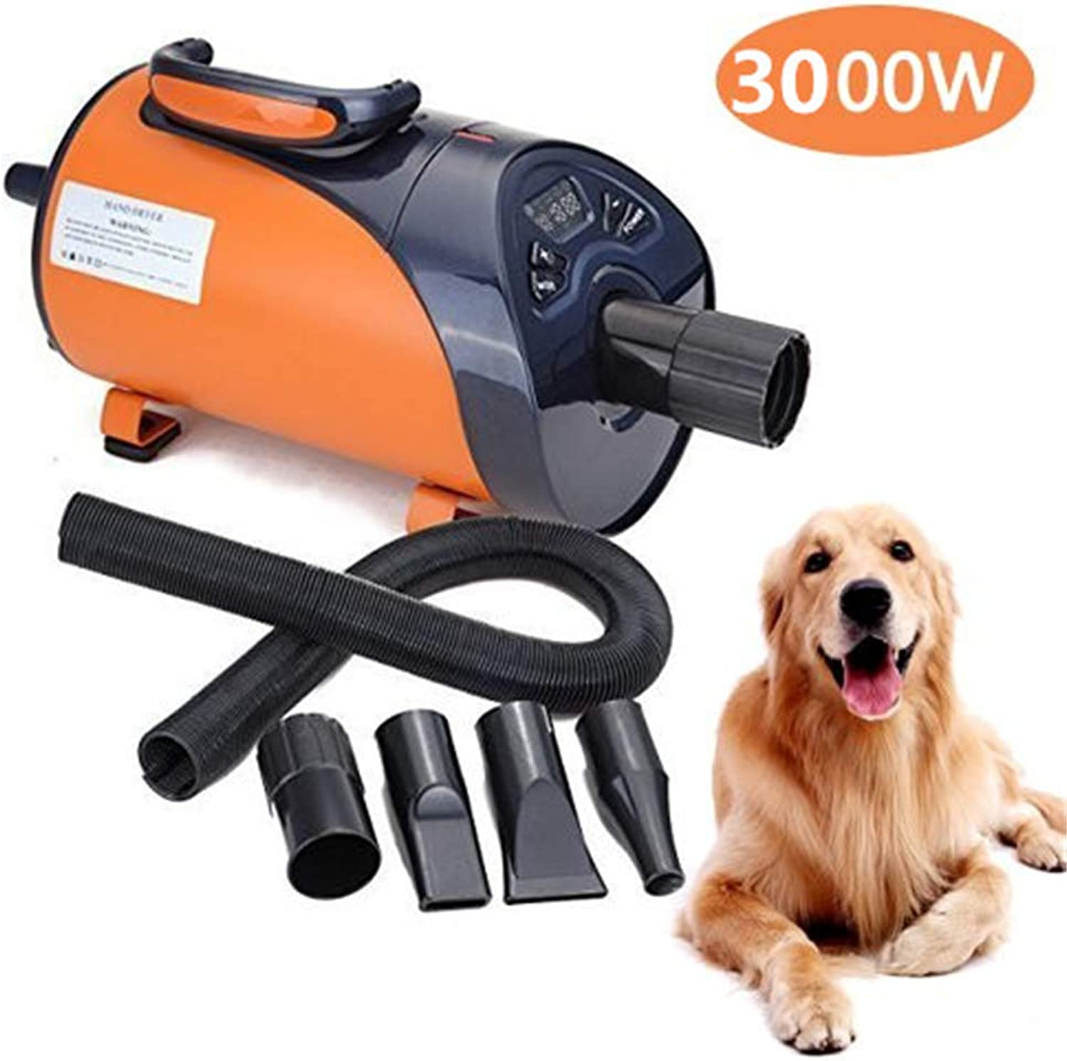 3000W Pet Dryer Professional Grooming Stepless Speed Dog Cat Pet Low Noise Adjust LED Display Hair Dryer Hairdryer Blaster Blower (orange)