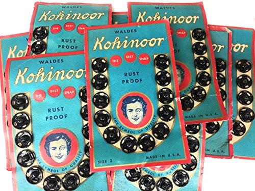 Vintage 144STRONG Snap Fasteners Negro # 3Walder Kohinoor 1st patente Snap