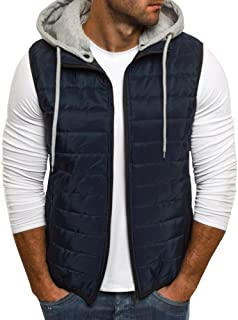 Mens Puffer Vest Jacket Quilted Removable Hooded Sleeveless Zip Up Warm Winter Outwear Jacket Gilet