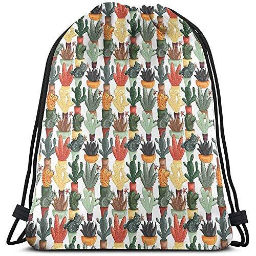 jenny-shop Gedruckte Drawstring-Rucksack-Taschen, mexikanischer Succulent in der Topf-botanischen themenorientierten Illustrations-Zimmerpflanze-Anordnung
