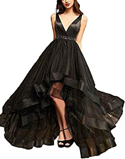 Asoiree Women's V-Neck Evening Dresses Crystal Homecoming Prom Gowns Sleeveless Hi-Lo