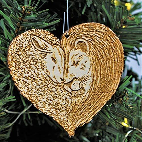 Lion and Lamb Heart Christmas Ornament | Hand Made Peace on Earth Spiritual Holiday Gift