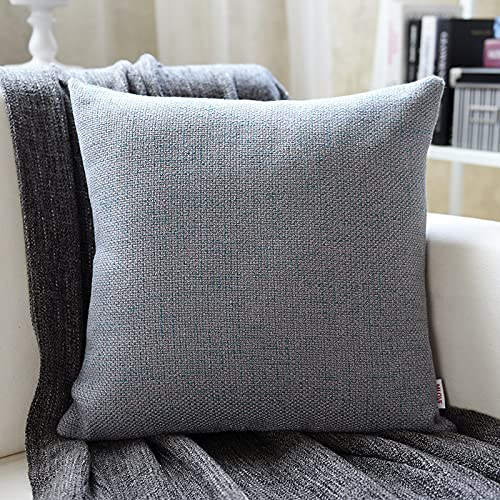 MRBJC Almohadas estilo nórdico lino espesar cojín decorativo cuadrado almohada con almohada para sofá sala sofá cama gris claro 50x50cm
