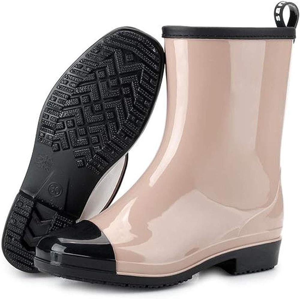 Allure love Women's Fashion Colouring Mid Calf Rain Boots Waterproof Booties Garden Rain Shoes