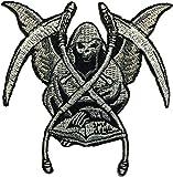 Grim Reaper Skull Ghost God Of Death Dangerous Evil Devil Motorcycle Biker Riding Logo Hog Outlaw Jacket Costume DIY Sew on Iron on Embroidered Applique Patch (RR-IRON-GRIM-REAP)