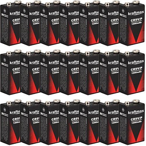 kraftmax 20x 9V Block Lithium Hochleistungs- Batterien für Rauchmelder/Feuermelder - 10 Jahre...