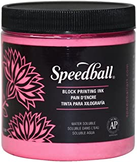 Speedball Water Soluble Block Printing Ink, Fluorescent Hot Pink, 8 Ounces