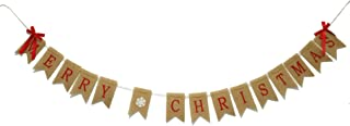 GOER Merry Christmas Burlap Banners Garlands with Ribbon Bows for Xmas Party Decoration Photo Prop