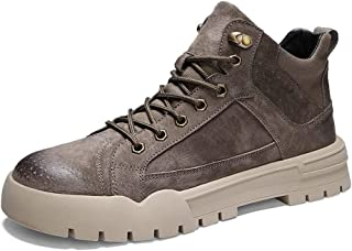 Shhdd Men's casual work shoes ankle boots lace-up leather round wearable solid color (Color : Khaki, Size : 43 EU)