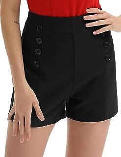 Belle Poque Women High Waist Stretch Shorts Vintage Button Sailor Shorts BP849