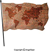 Spun Polyester Built for Outdoor,Brick Wall with World Atlas Map Reflection Pattern Contemporary Artful Scene Orange,3x5 ft,Flag for Wedding Party Home Decor