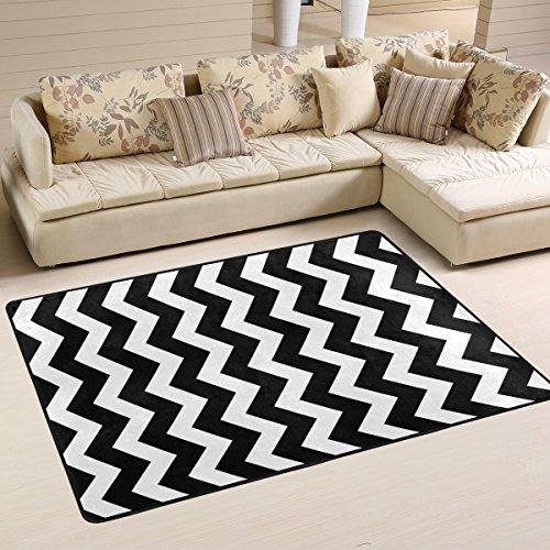ALAZA Non Slip Area Rug Home Decor, Stylish Black White Zig Zag Durable Floor Mat Living Room Bedroom Carpets Doormats 72 x 48 inches