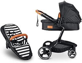 Cochecito de bebé 2 en 1, de lujo, de alta vista, plegable, europeo, para recién nacidos, color negro