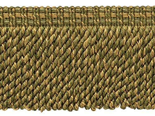 Vert artichaut, or moyen, 76 mm, frange décorative, vendu au mètre (91 cm) | Style : BFV3 | Couleur : VNT15 – Olivier