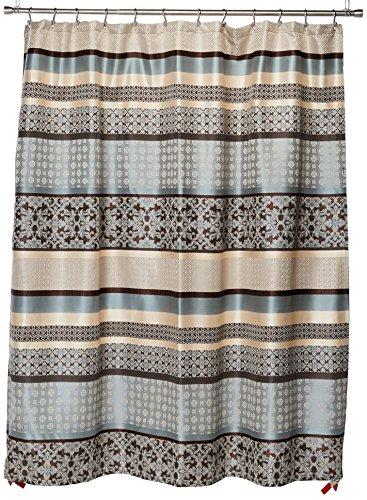 Madison Park Princeton Geometric Jacquard Fabric, Transitional Shower Curtains for Bathroom, 72 X 72, Blue, 72x72