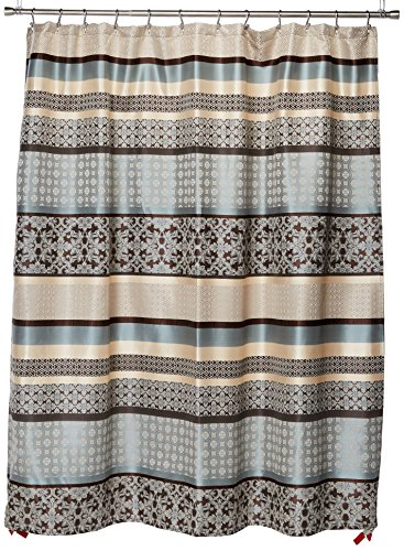 Madison Park Princeton Geometric Jacquard Fabric, Transitional Shower Curtains for Bathroom, 72 X 72, Blue, 72x72
