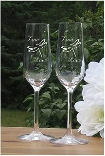 True Love Champagne Flutes - Dragonfly Lead Free Crystal 7 oz Wedding Glasses