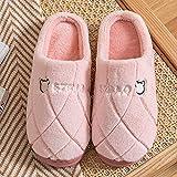 Fuduoduo Memory Foam Pantuflas,Zapatillas cálidas de algodón para Parejas de otoño e Invierno-Rosa A_36-37#,Cómodo Espuma de Memoria Zapatillas