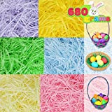 Easter Grass 24oz (680g) 6 colors Easter Basket Filler Stuffers, Recyclable Shred Paper Grass for Easter Egg Hunt Décor, Party Favors, Classroom Event Decoration.