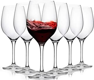 FAWLES Aristocratic Crystal Red Wine Glasses Set of 6, 17 Ounce Thin Rim Classic Rounded Bowl Stemmed All-purpose Wine Gla...