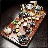 Juego de té Bandeja Té Sirviendo bandeja Juego de té Kung Fu con bandeja de té de madera, conjunto de té de gongfu...