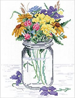 Janlynn Wildflower Jar Counted Cross Stitch Kit