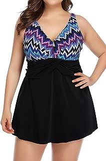 PERONA Women's Plus Size Swimsuits Shaping Body One Piece Swim Dresses Print Swimwear
