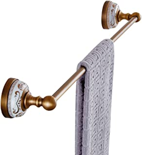 WINCASE European Antique Copper Gold-Plated Single Towel Bar Golden Towel Racks Wall Mounted White Porcelain Metal Pendants Bathroom Hardware Pendant Antique White Porcelain Single Pole Towel Rack
