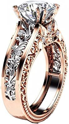 Women's Rings,Yukong Women Color Separation Rose Gold Rings Floral Jewelry  Wedding Band: Amazon.co.uk: Jewellery