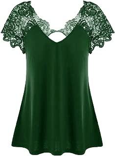 Womens T-Shirt Fashion Tops V-Neck Plus Size Lace Short Sleeve Trim Cutwork