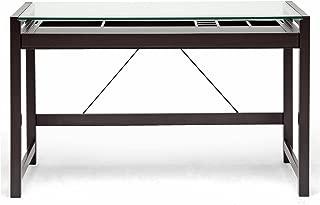 Baxton Studio Idabel Dark Brown Wood Modern Desk with Glass Top