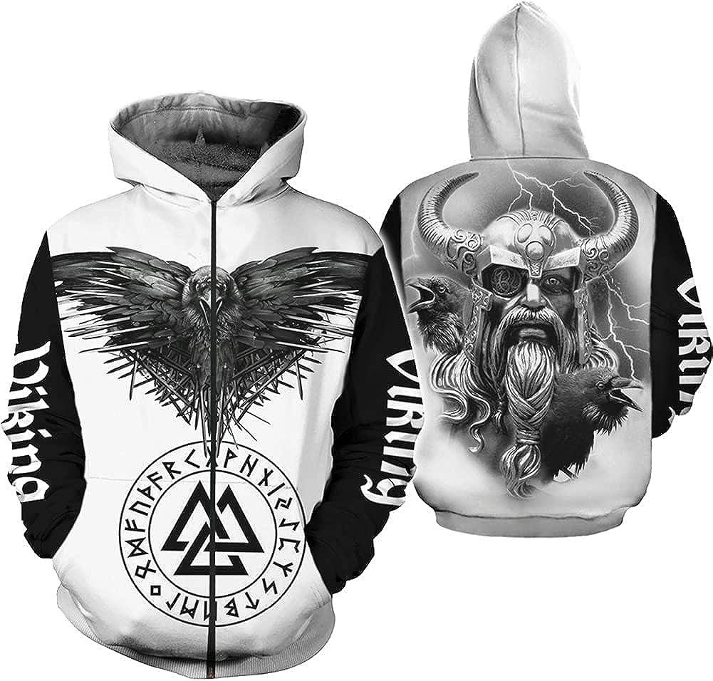 Viking Symbol Odin Tattoo 3D Printed Men Hoodie Fashion Hooded Sweatshirt Street Jacket Autumn Hoodies