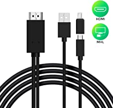 Micro USB to HDMI Cable 6 Feet, MHL to HDMI Adapter 1080P HD HDTV Mirroring &Charging Cable, Digital AV Video Adapter for All Android Smartphones to TV/Projector/Monitor