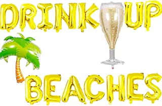 HEETON Drink Up Beaches Balloons, Beaches Hawaii Luau Palm Tree Tropical Summer Party Banner, Beaches Coconut Tree Champagne Bottle Party Supplies Decorations