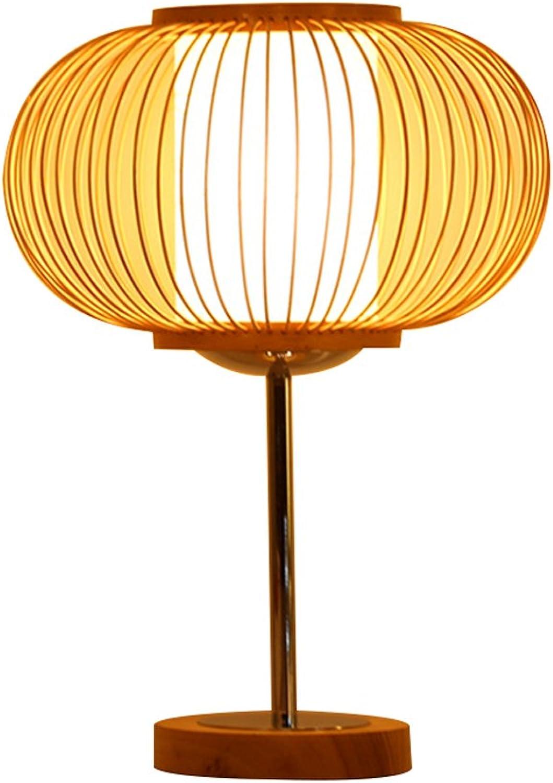 Südostasiatische Art Handgewebte hlzerne Tischlampe, einfache kreative Retro Tischlampe, Schlafzimmer Wohnzimmer Studie Tischlampe E27