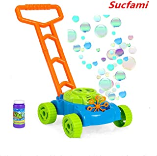 Sucfami Bubble Machine for Kids,Move Free,Bubble Lawn Mower,Sensory Toys for Autistic Children,Gift for Wedding Party,Powered by Batteries for Outdoor Indoor Bubble Car Toys