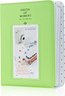 Amimy 64 Pockets álbum de Fotos para Fujifilm Instax Mini 7s 8 8+ 9 25 50 70 90 Polaroid Snap PIC-300 HP Piñón Kodak Mini 3 Pulgadas de película con Pegatinas de Colores (Verde Lima)
