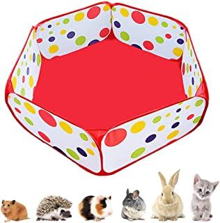 Amakunft Portable Small Animals Playpen, Outdoor/Indoor Pop Open Pet Exercise Fence, Guinea Pig Accessories C&C Cage Tent for Rabbits, Hamster, Chinchillas and Hedgehogs