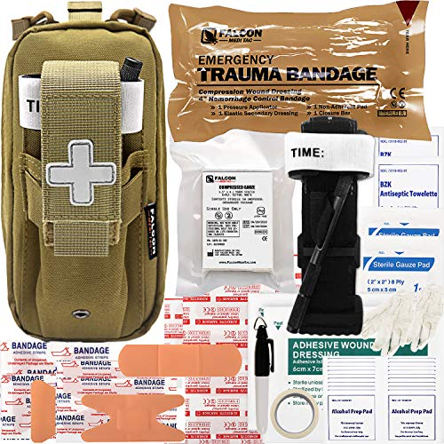 Falcon Medi-Tac Everyday Carry Trauma Kit IFAK Emergency Treatment Care EMT First Aid Kit (Tan)