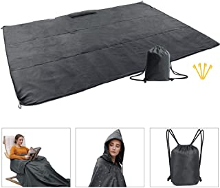 Ultrafun Fleece Outdoor Hooded Blanket Compact Portable Waterproof Windproof Multifunction Wearable Travel Picnic Sports Blanket Mat Rain Ponchos with Hood