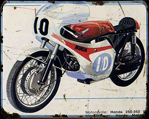 Honda 250 350 6 cilinder A4 Metalen bord Motorfiets Vintage leeftijd